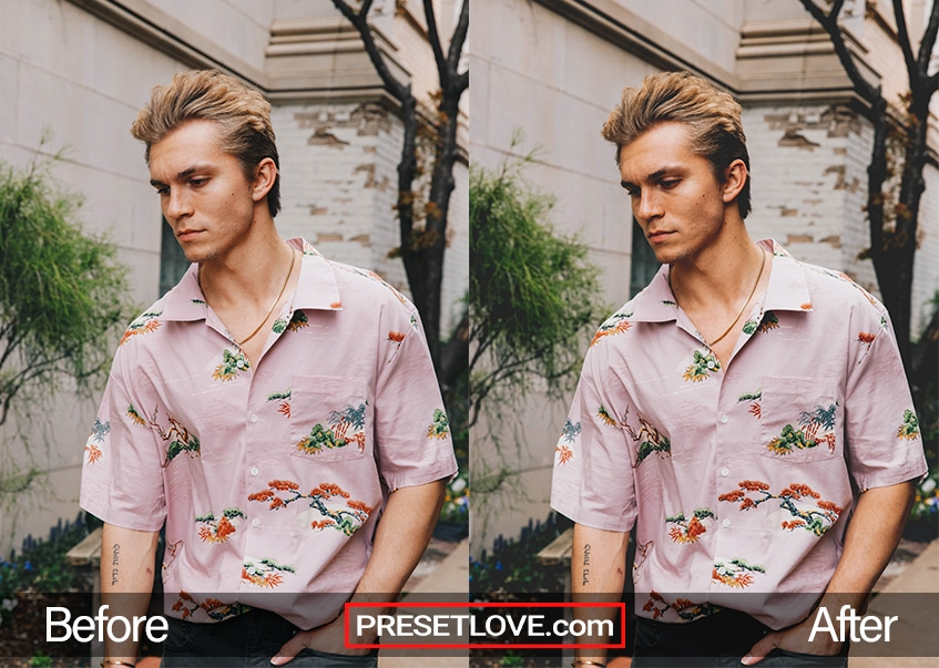 A vivid matte film outdoor portrait of a man in a lavender shirt