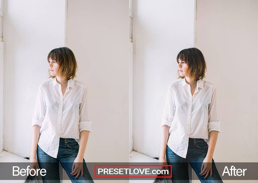 A matte film indoor portrait of a woman wearing a white button-up shirt