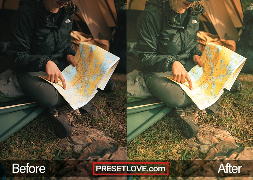 A yellowish vintage photo of a person pointing at a location on a map