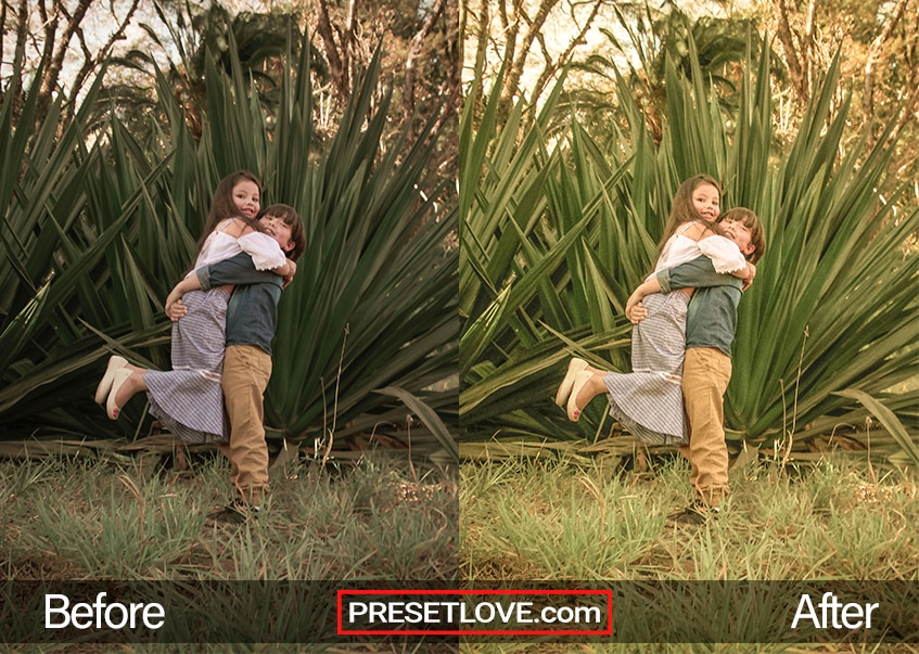 A warm retro photo of children playfully hugging at a park