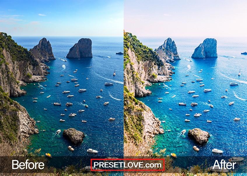 A vibrant and colorful photo of a coast
