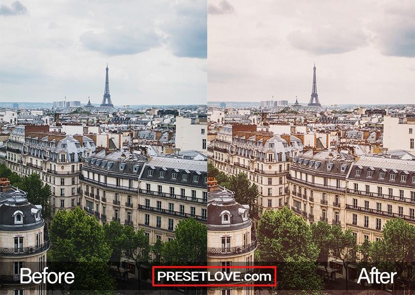 A retro photo of a Paris cityscape