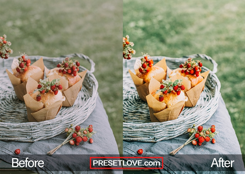 A warm and vibrant outdoor photo of pastries in a gray basket
