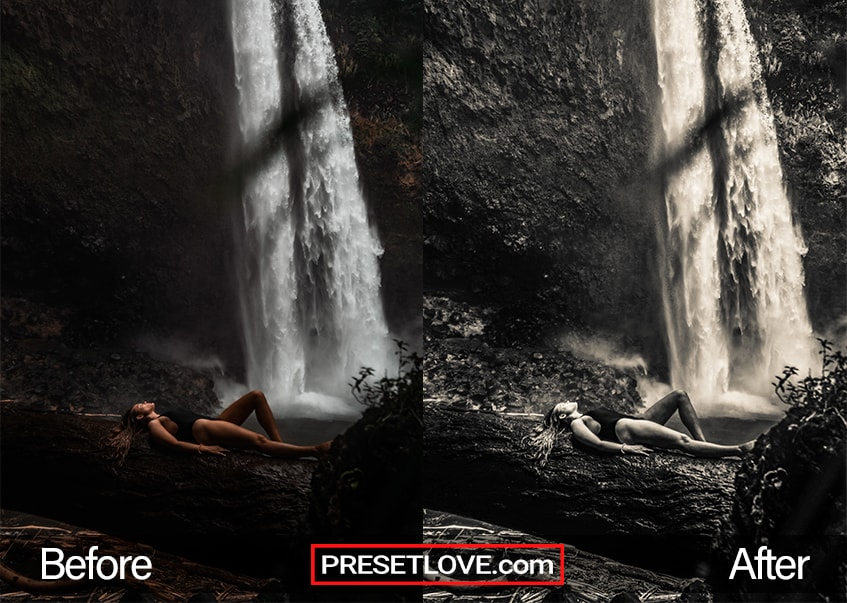 A dim infrared photo of a woman lying down on by a waterfall
