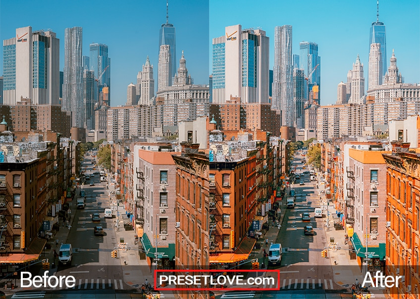 A vibrant urbanscape with rich warm tones