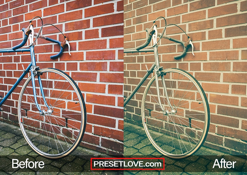 A warm vintage photo of a bicycle leaning against a red brick wall