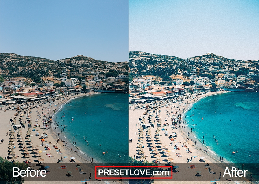 A photo of the beach brightened by 200 Max preset