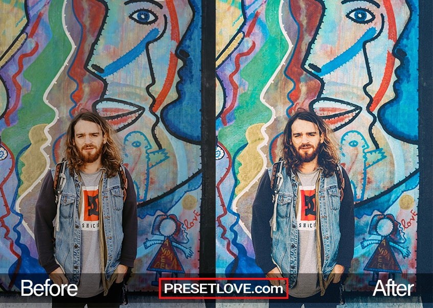 A colorful portrait of a man in front of a vibrant street art