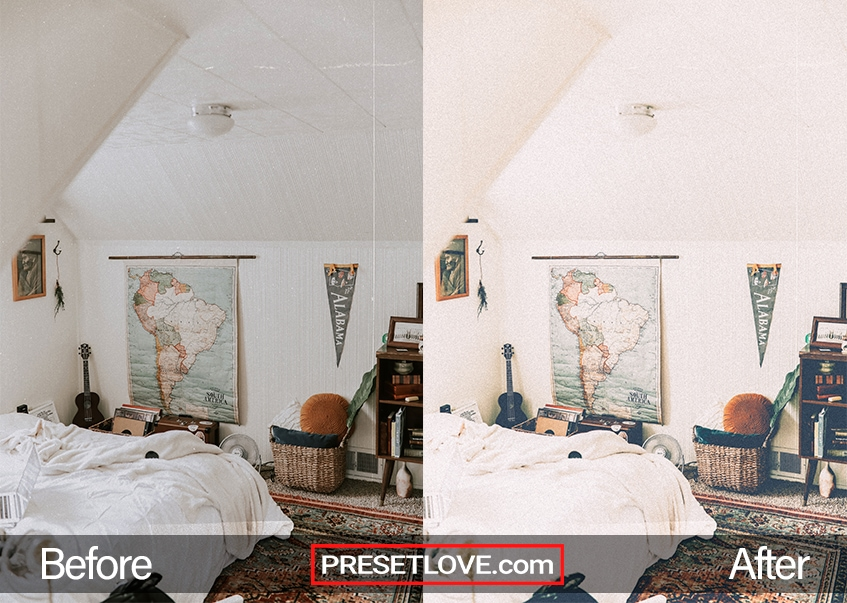 A faded and grainy vintage photo of a bedroom with white walls