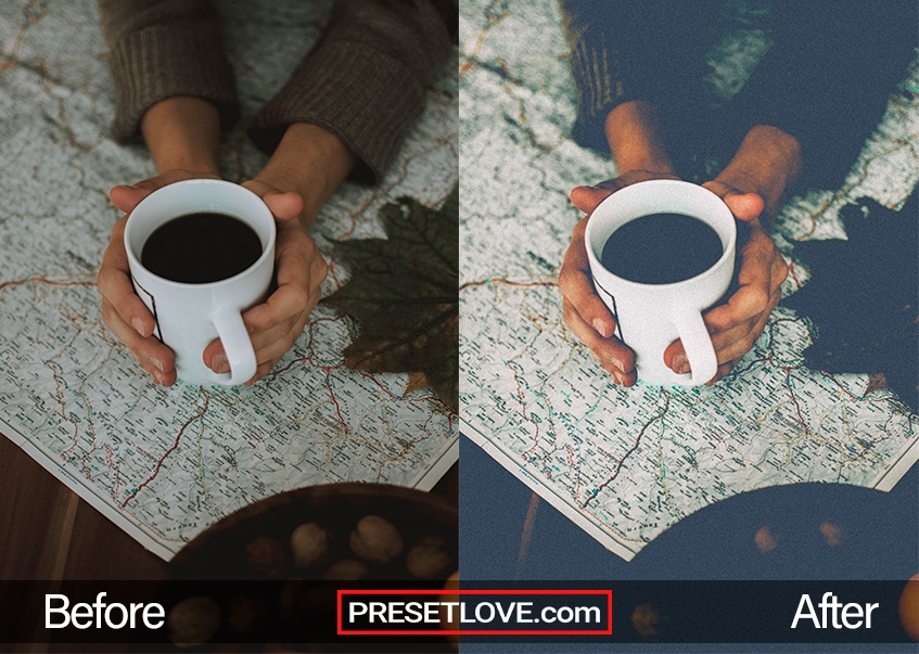 A faded and grainy photo of someone's hands holding a white mug of coffee over a map