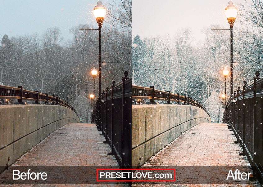 Photo of a pedestrian bridge and falling snow, with a warm and cozy winter preset applied