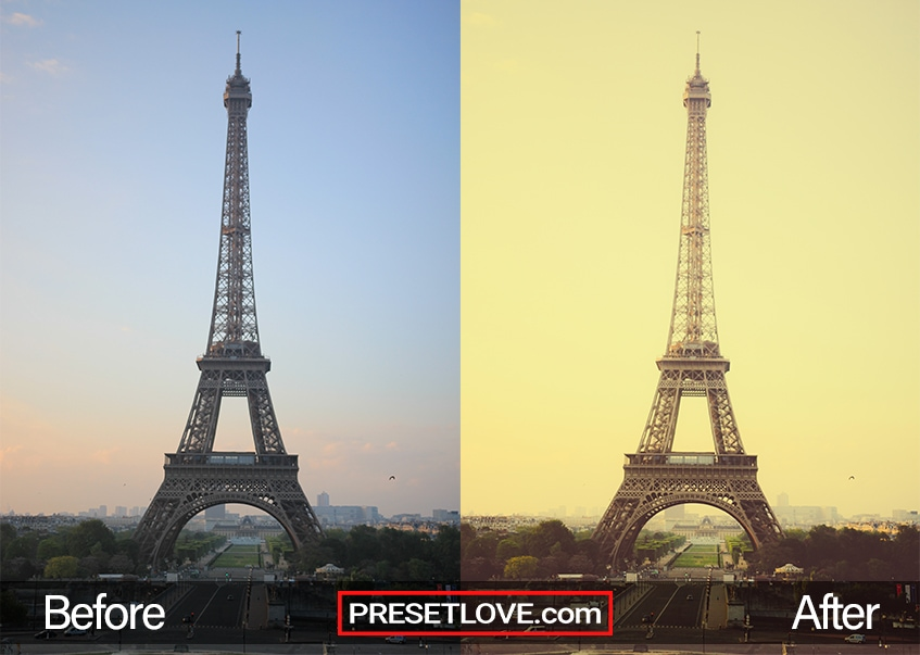 A yellowish image of the Eiffel tower