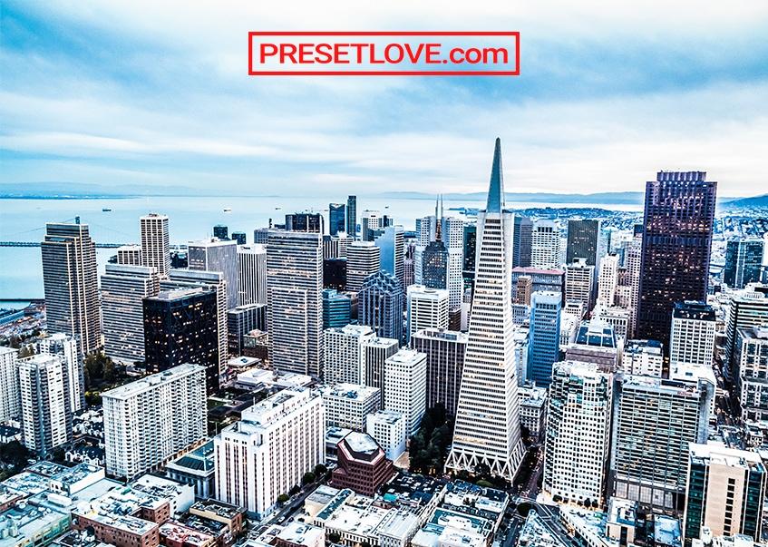 A bright and vibrant cityscape