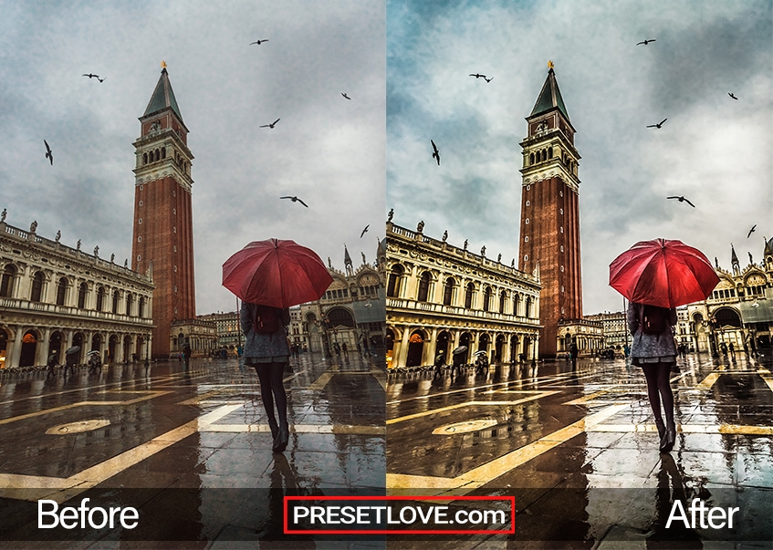 An HDR photo of a woman holding a red umbrella while talking in a town square