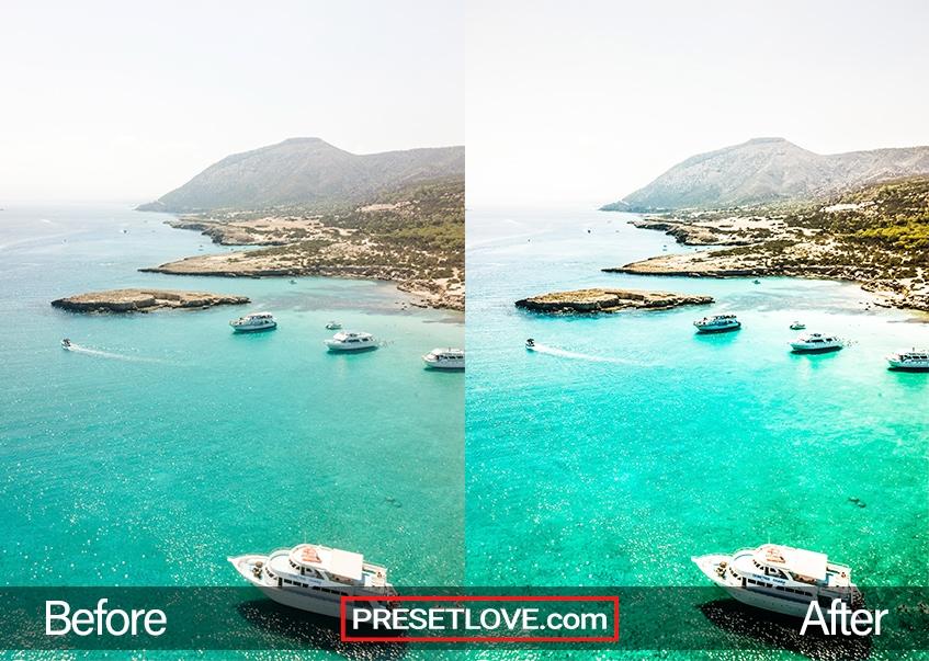A bright and vivid photo of boats near a coast