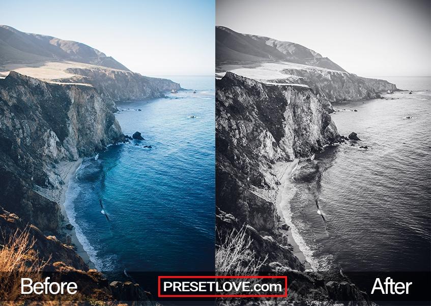 A vivid black and white photo of a coast