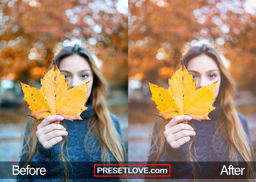 A warm and bright outdoor photo of a woman holding a maple leaf