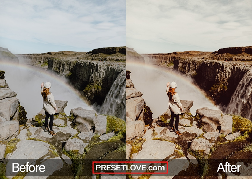 A classic Polaroid photo of a woman viewing a waterfall from a cliff's edge