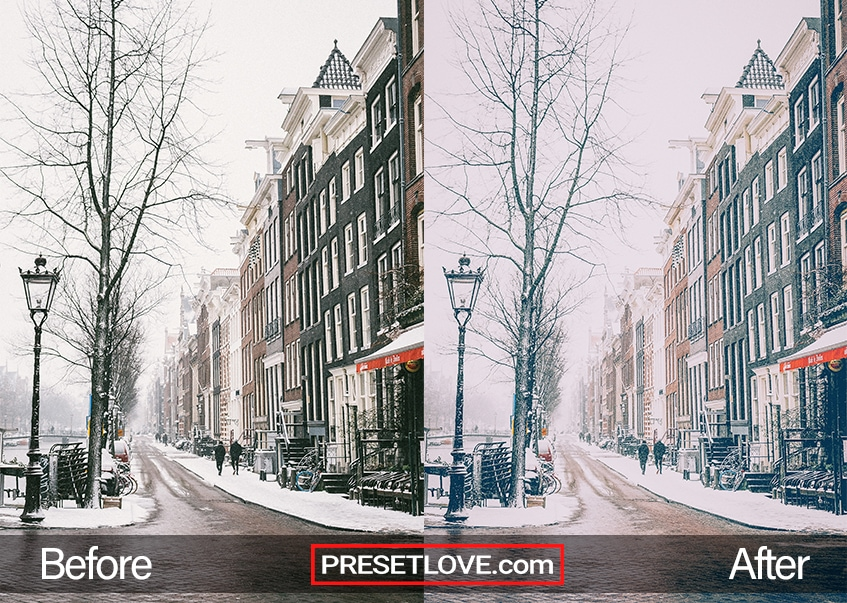 A soft and cinematic winter photo of a street lined with brick buildings