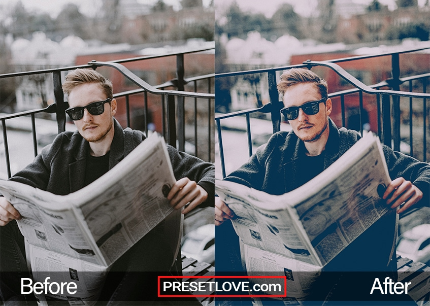 A soft and cinematic photo of a man wearing sunglasses and holding open a newspaper