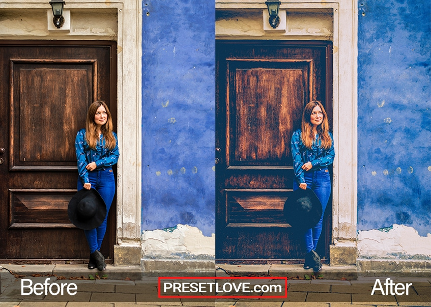 A matte vintage photo of a woman in blue leaning against a dark wooden door