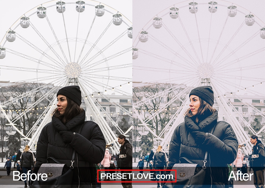 A vintage photo with soft tones, of a woman wearing a black winter jacket while posing in front of a Ferris Wheel
