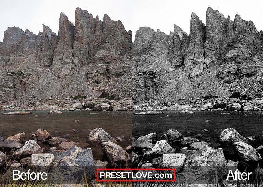 A monochrome photo of a rough terrain