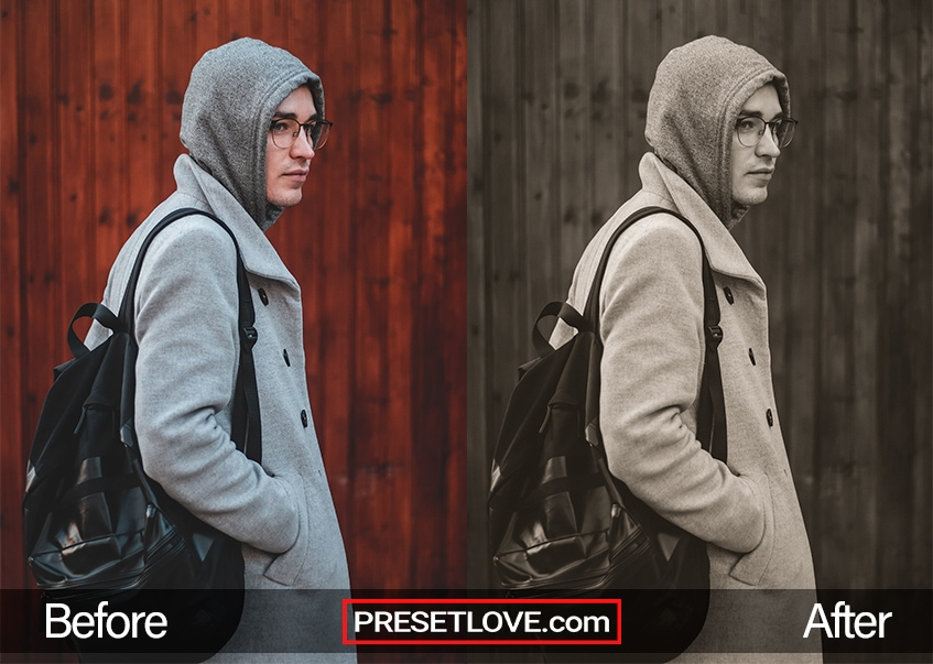 A monochrome sepia photo of a man wearing a hoodie and a backpack
