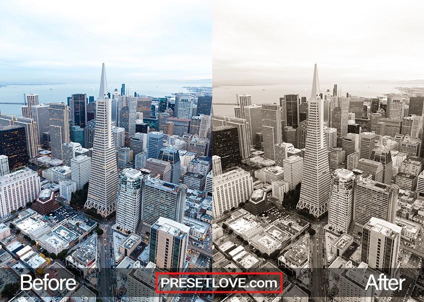A bright sepia monochrome cityscape