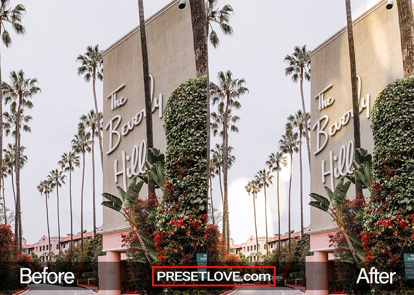 The Beverly Hills signage with lens flare