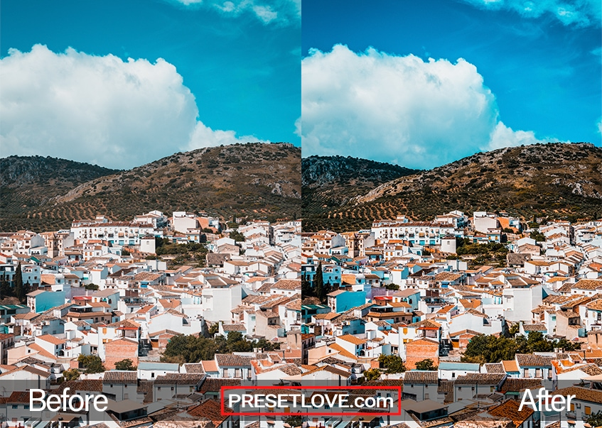 A vivid urbanscape with hills in the background, enhanced by PresetLove's landscape preset for Lightroom.