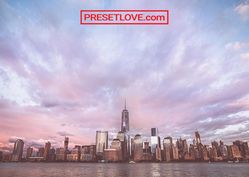A colorful city skyline