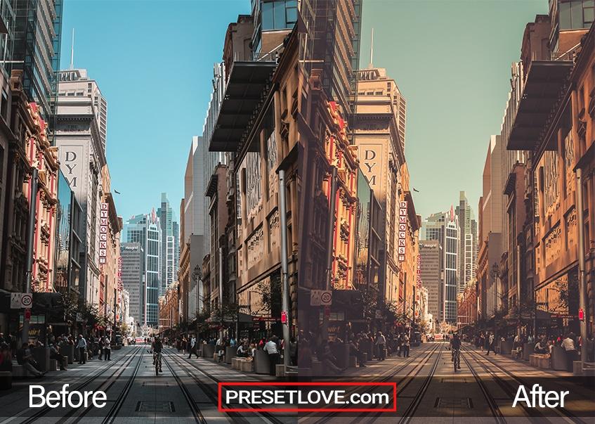 A warm orange photo of an urban street