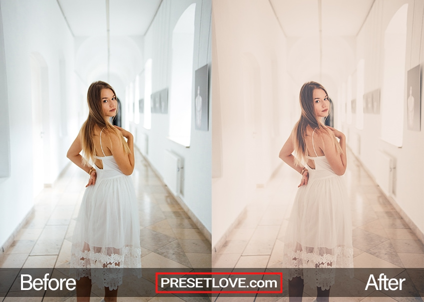 A soft matte portrait of a woman wearing a white summer dress