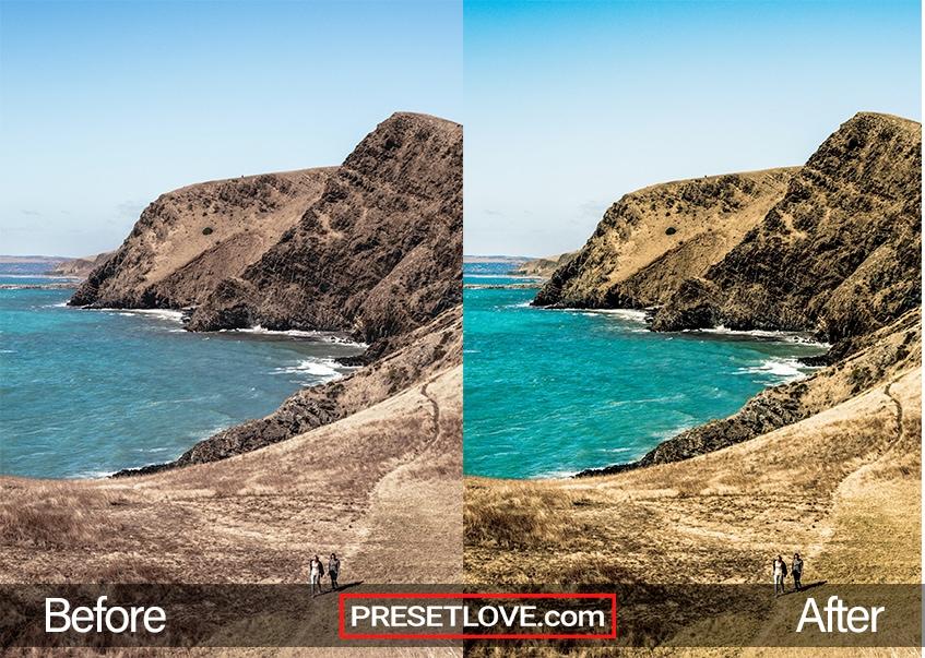 A bright and vibrant photo of a coast