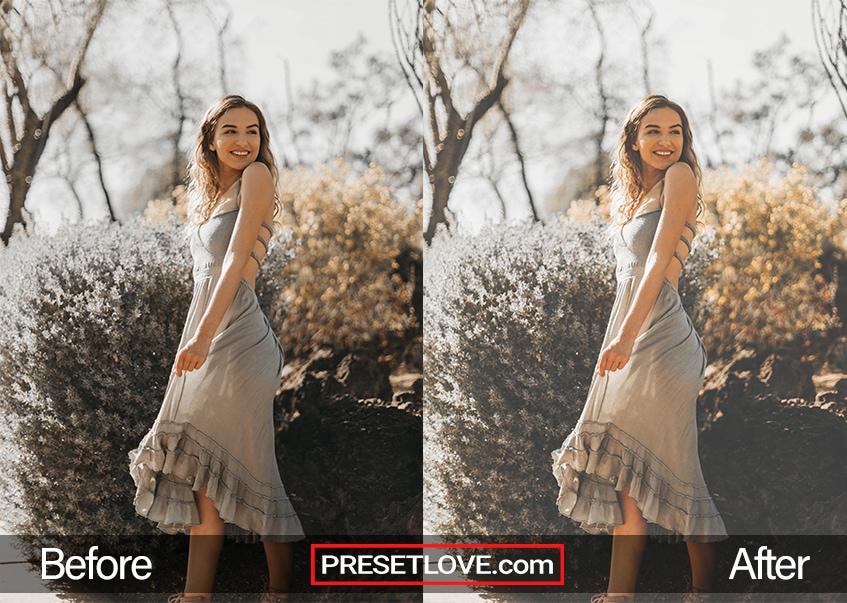 A soft film outdoor portrait of a woman wearing a light gray dress