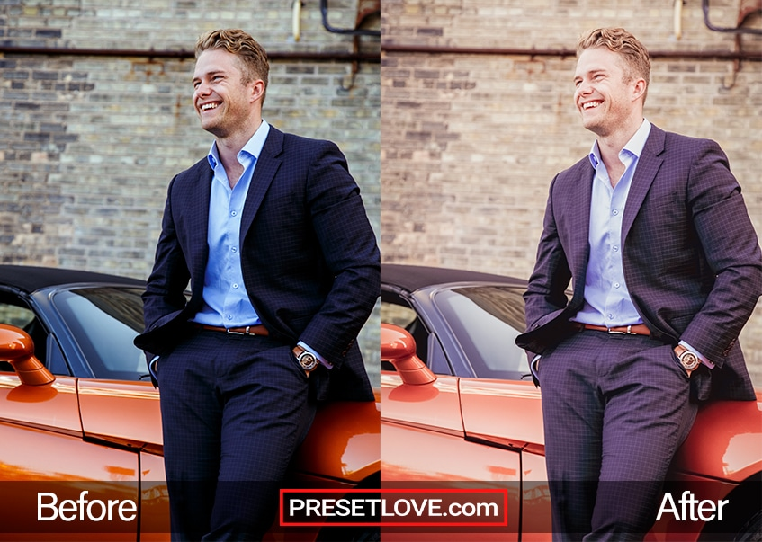 A man in a suit leaning against a red car