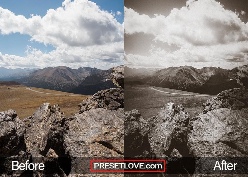 A landscape photo in brownish monochrome