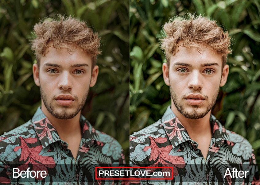 Before and After example of a clear portrait preset enhancing a man's outdoor portrait