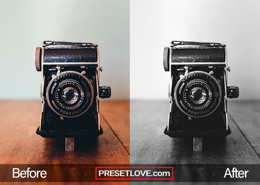A vibrant black and white photo of an analog camera