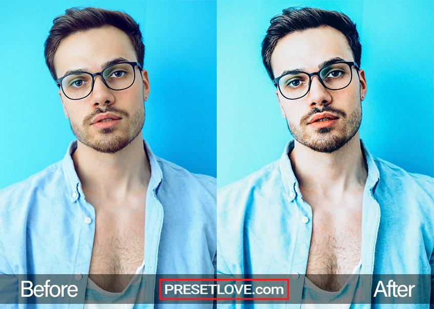 A man's vibrant portrait with a blue background