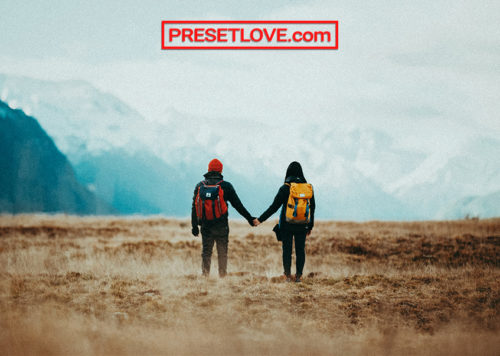 A couple holding hands and looking at the mountain landscape view