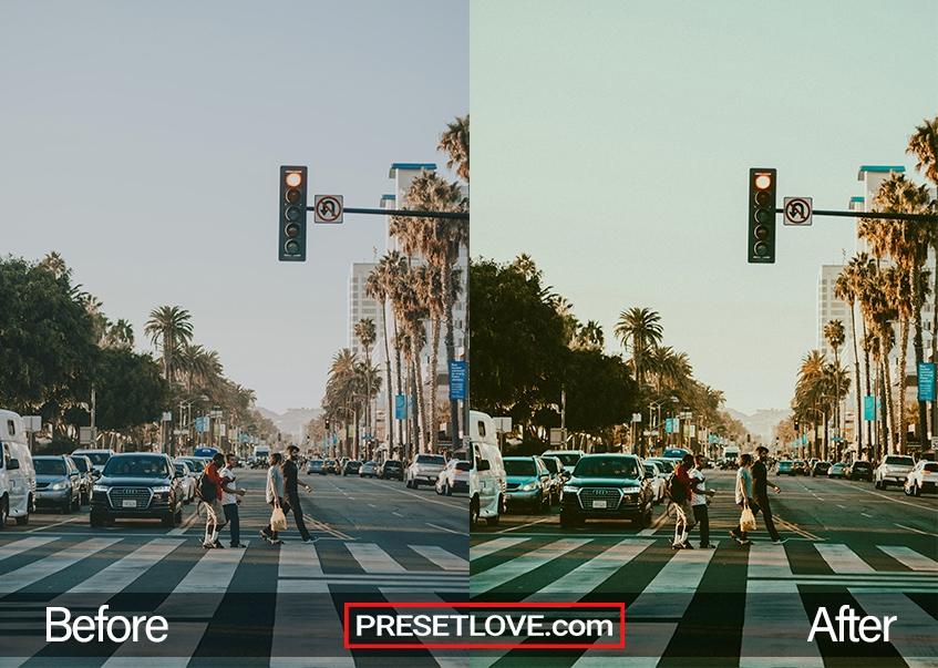 A vibrant retro photo of an urban street