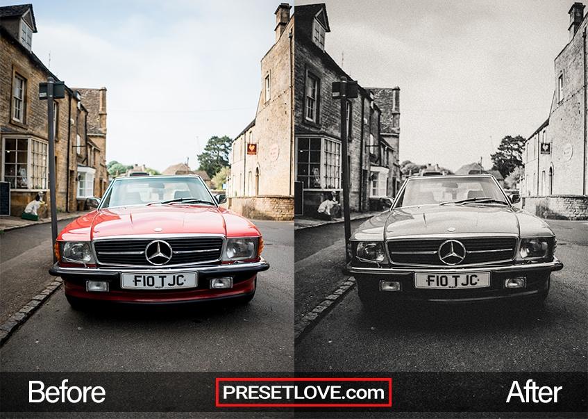 A monochrome photo of a vintage car