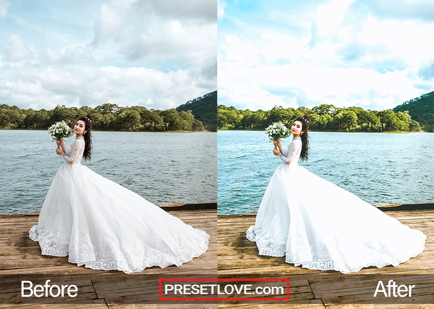 A brightened photo of a bride by a lake