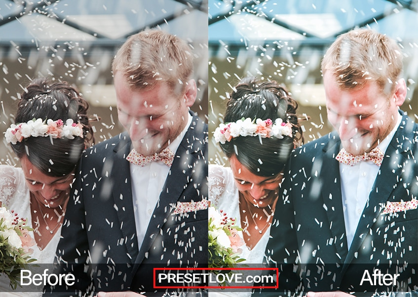 Elegant Wedding Lightroom preset applied to a photo featuring a newly wed couple being showered with rice after the ceremony