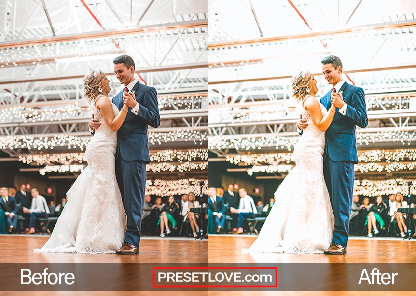 Elegant Wedding preset applied to a photo of a couple dancing in a wedding reception