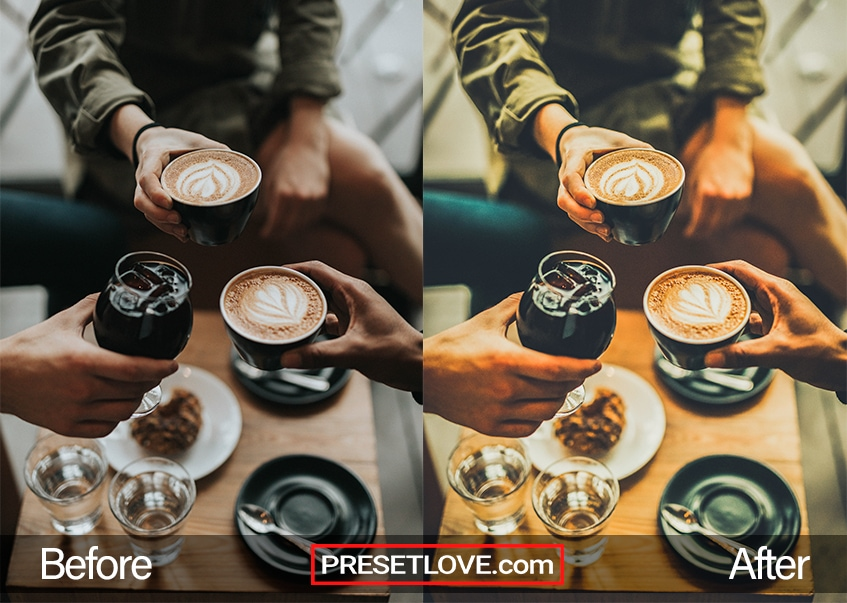 A warm cafe photo of coffee cups being held for cheers