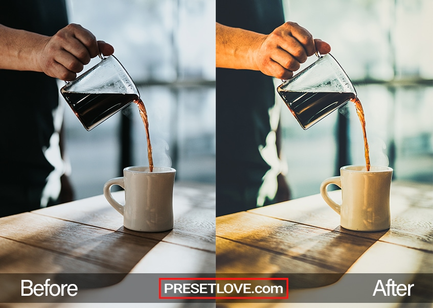 A warm photo of a black coffee being poured into a white mug