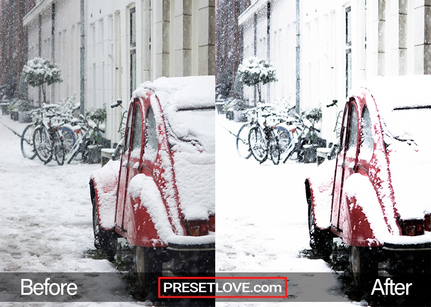 A red car parked along a snowy street